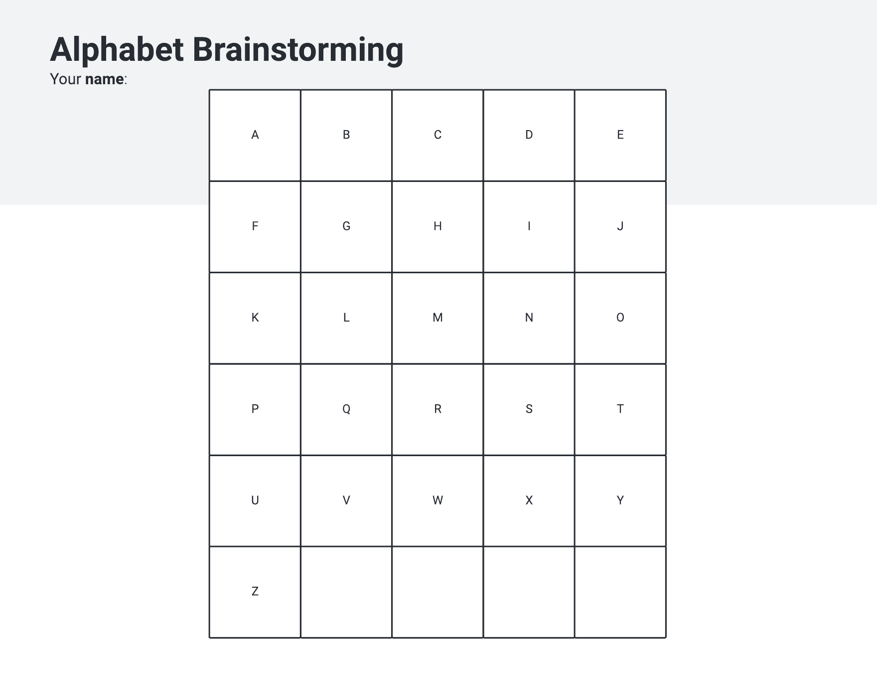 Alphabet brainstorming document