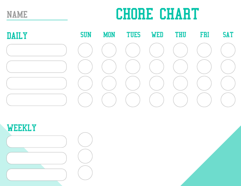 Chore chart daily schedule template