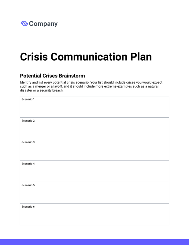 Crisis communication plan template