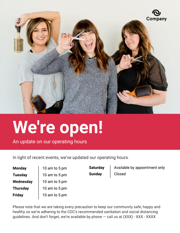 Franchise operating hours flyer template