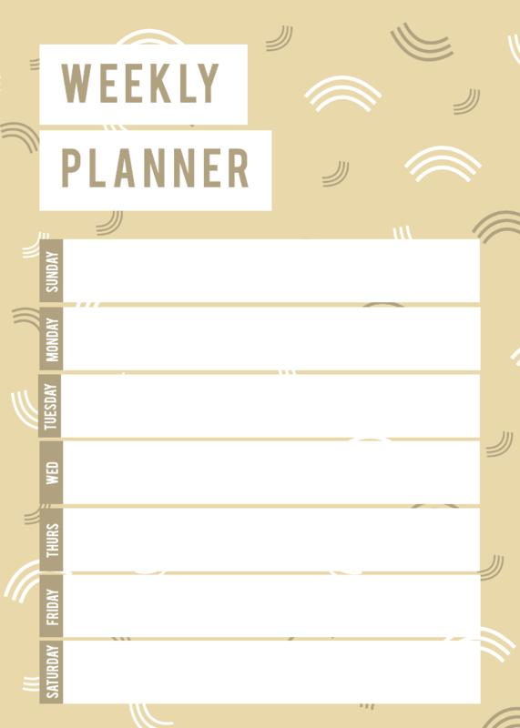 Golden weekly schedule template
