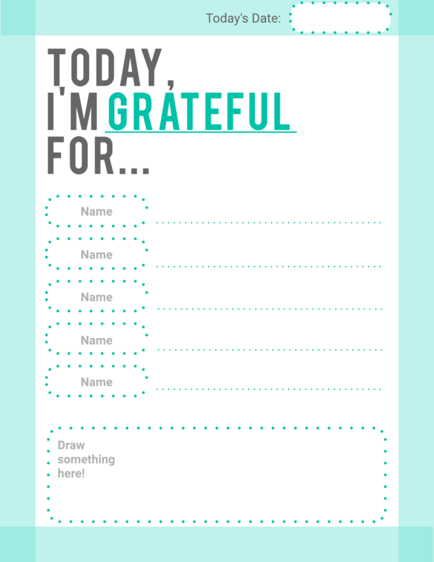 Gratitude list daily schedule template