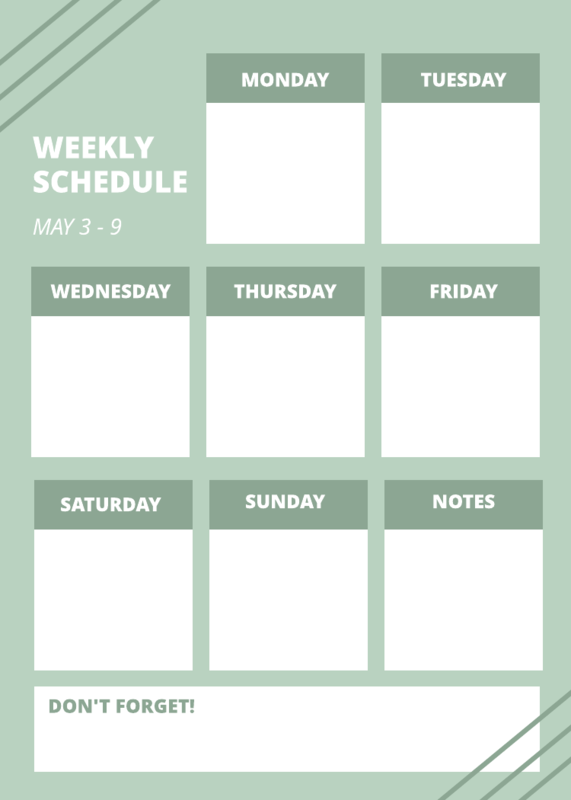 Green weekly schedule template