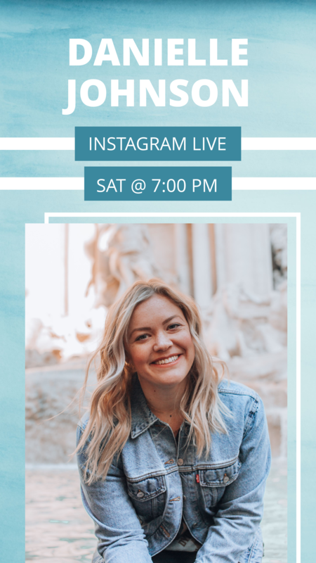 Instagram live story announcement template