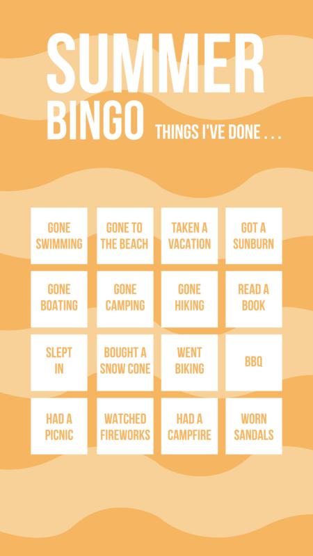 Instagram story summer bingo template