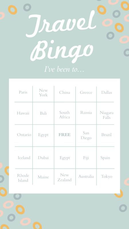 Instagram story travel bingo template