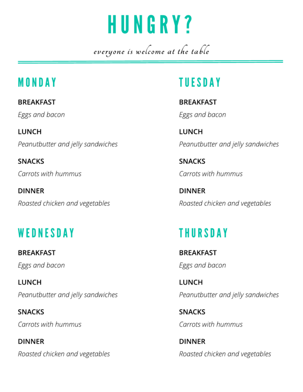 Meal plan daily schedule template