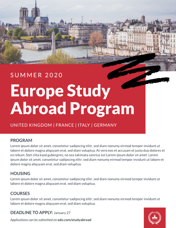 Study abroad flyer template