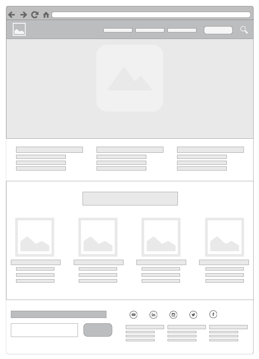 home page basic wireframe example