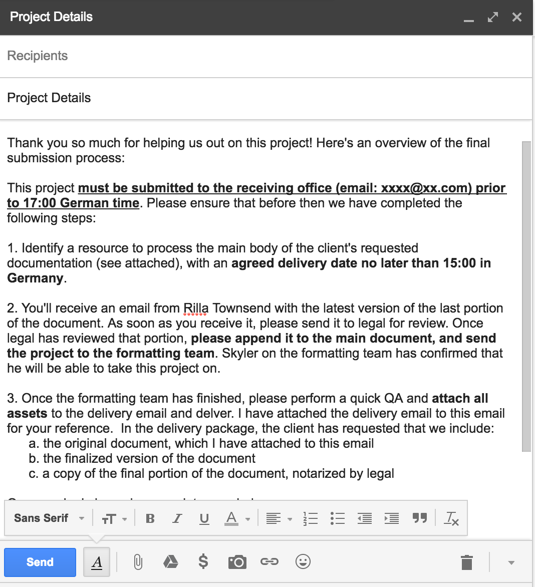 Project Management Email Example