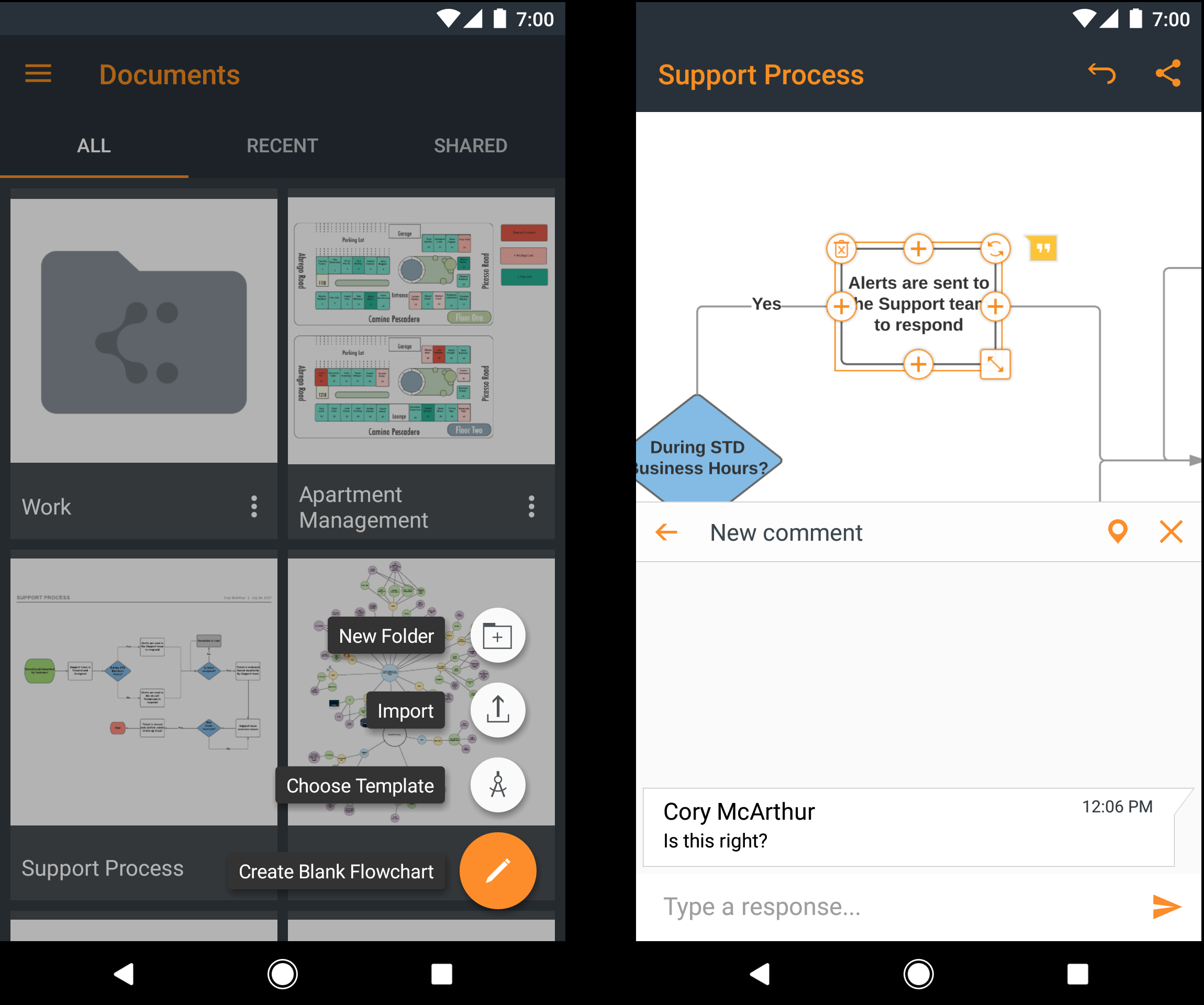 Lucidchart Android features