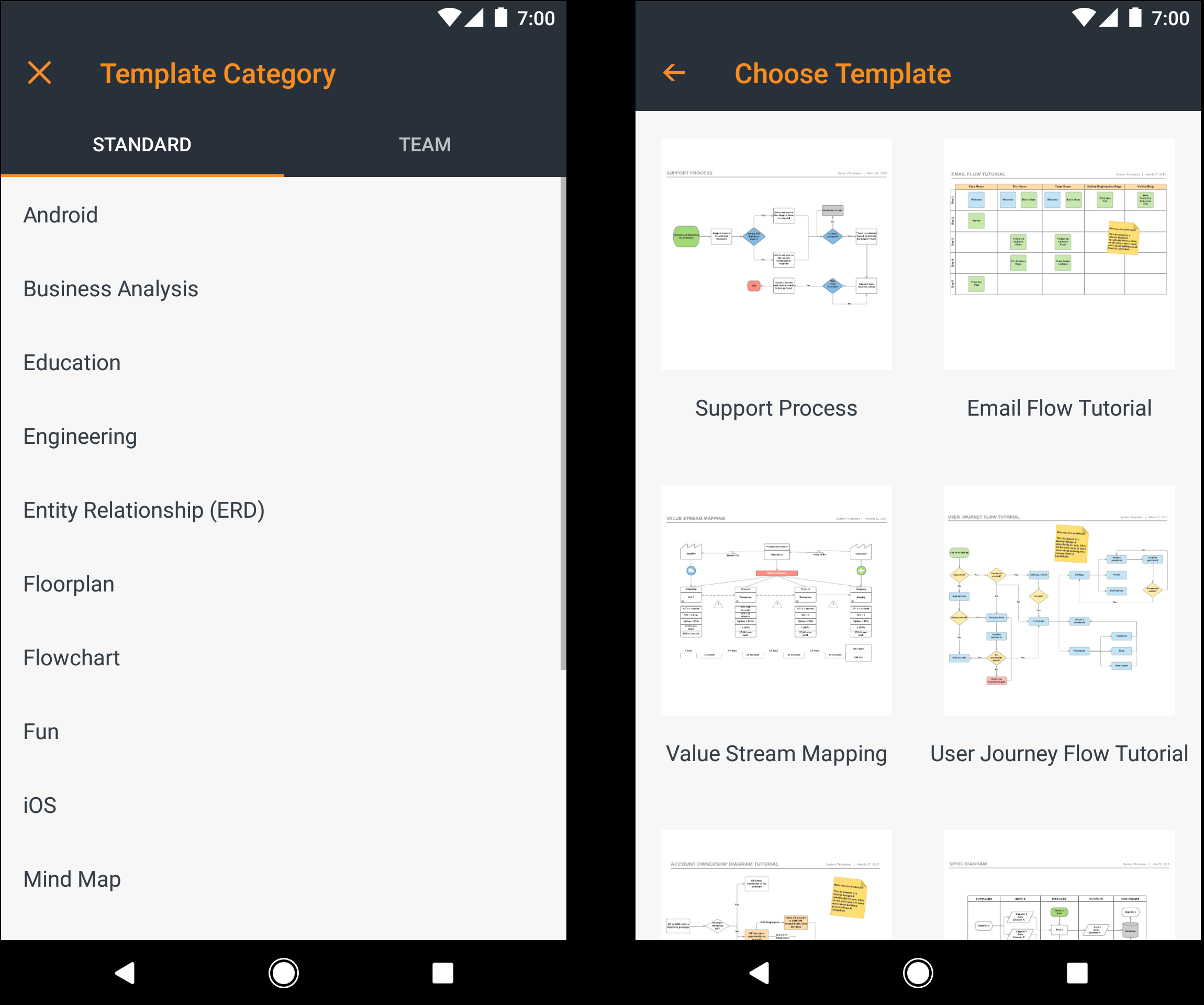 Android app template selection
