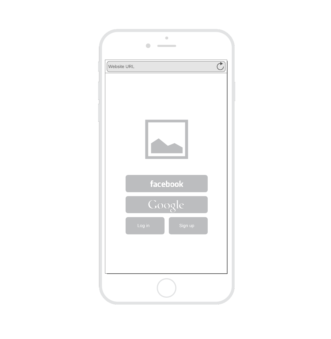 mobile login or sign-up page wireframe