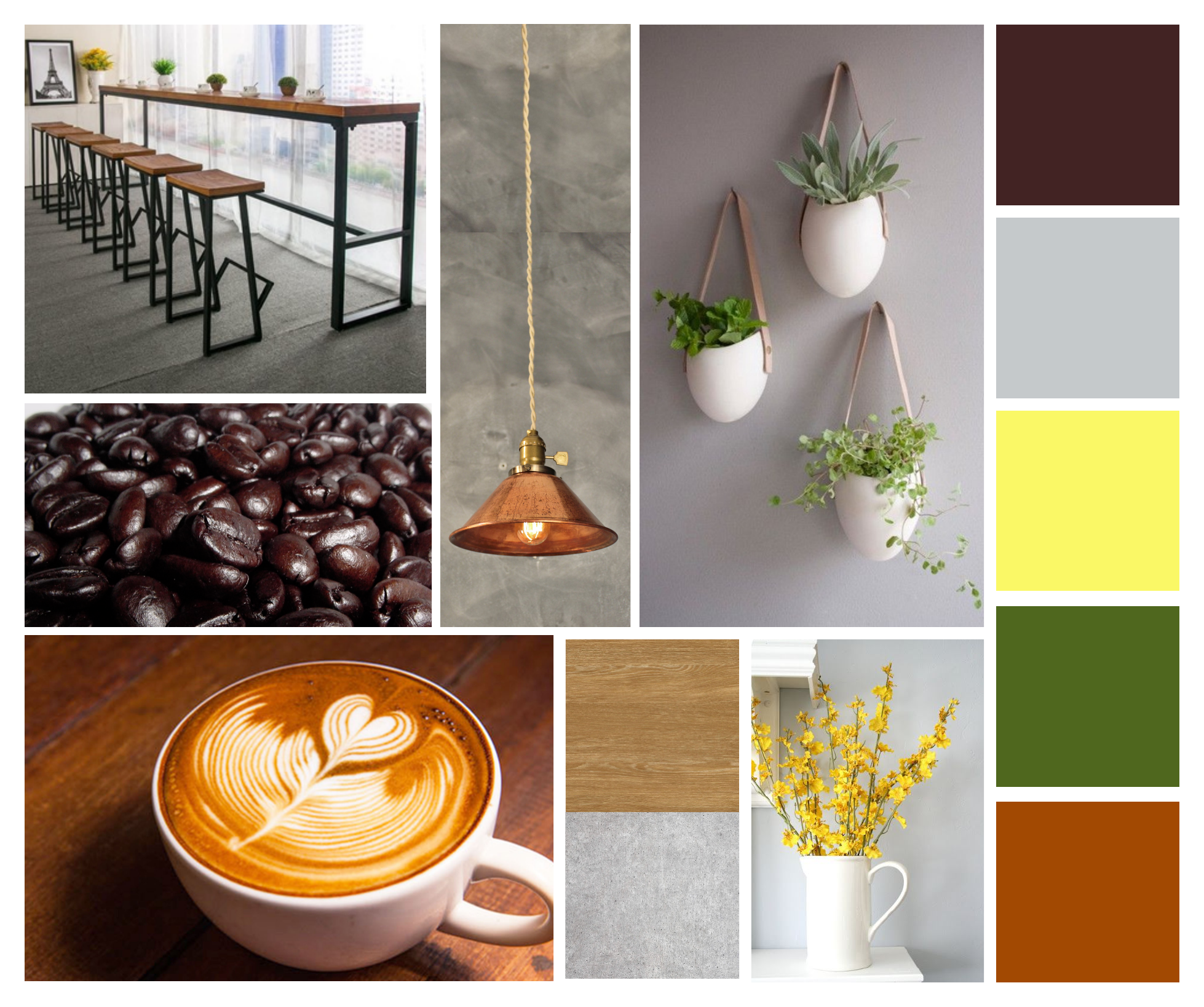 mood board example for coffee shop
