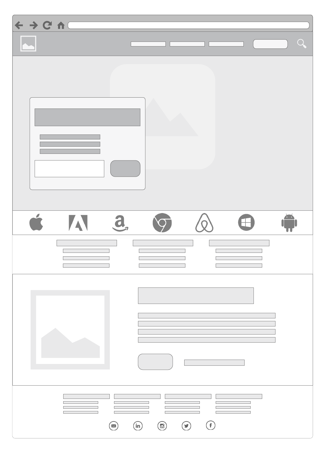 home page basic wireframe