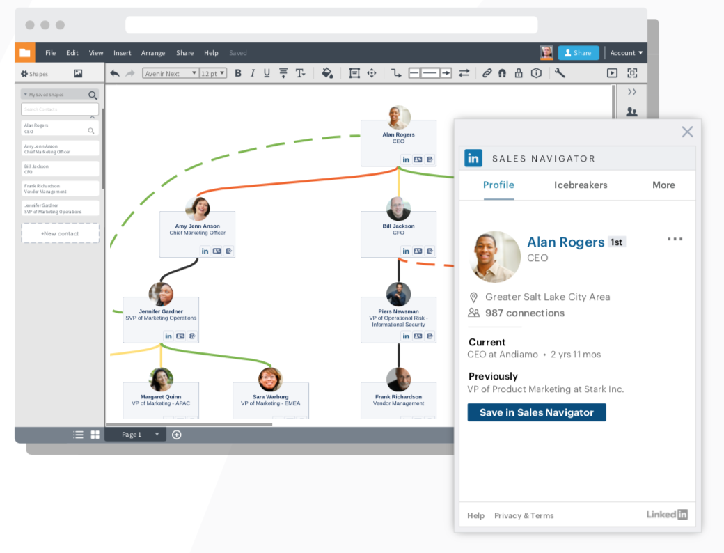 LinkedIn Sales Navigator features in the context of your Lucidchart account maps