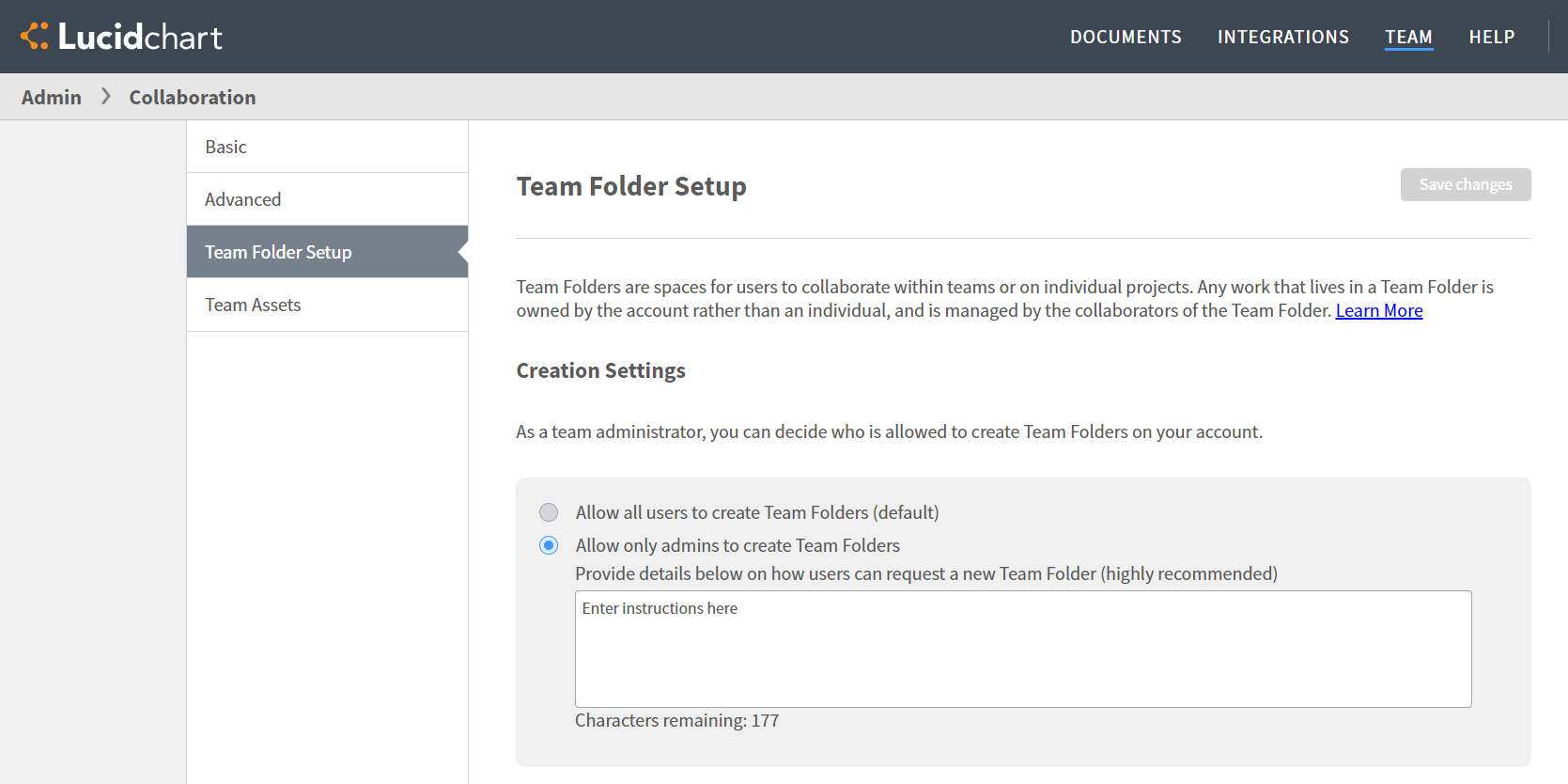 Team folder creation setup