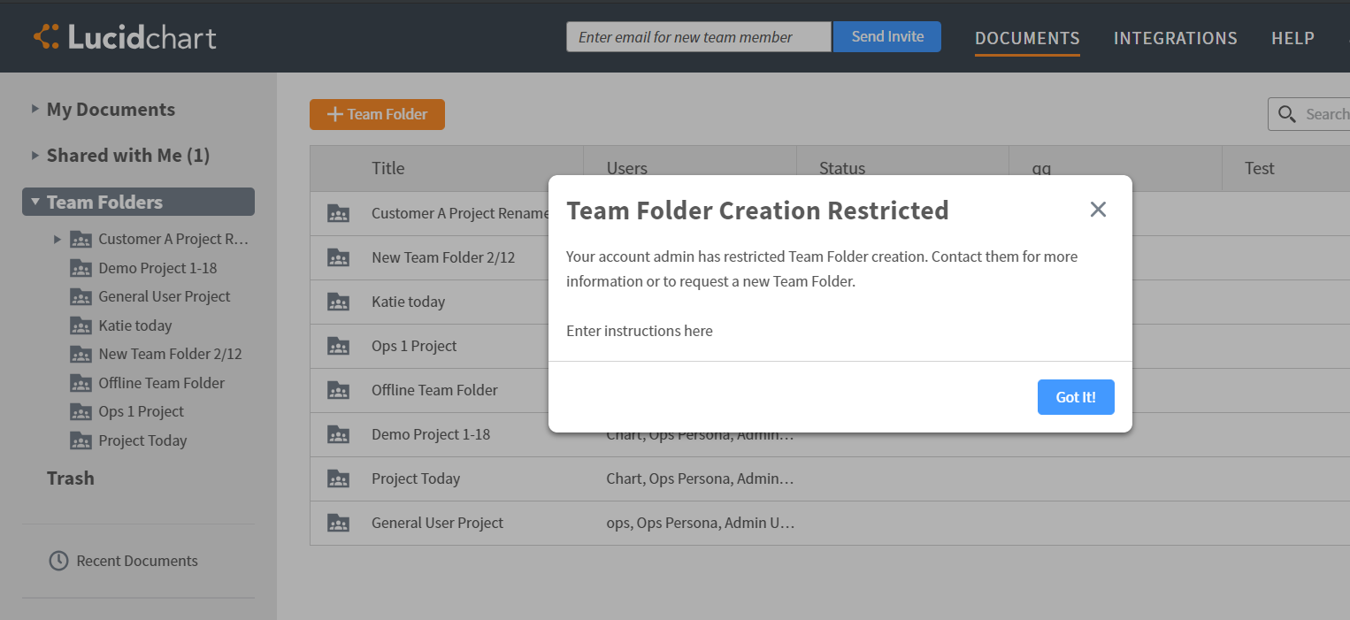 Restricted team folders access