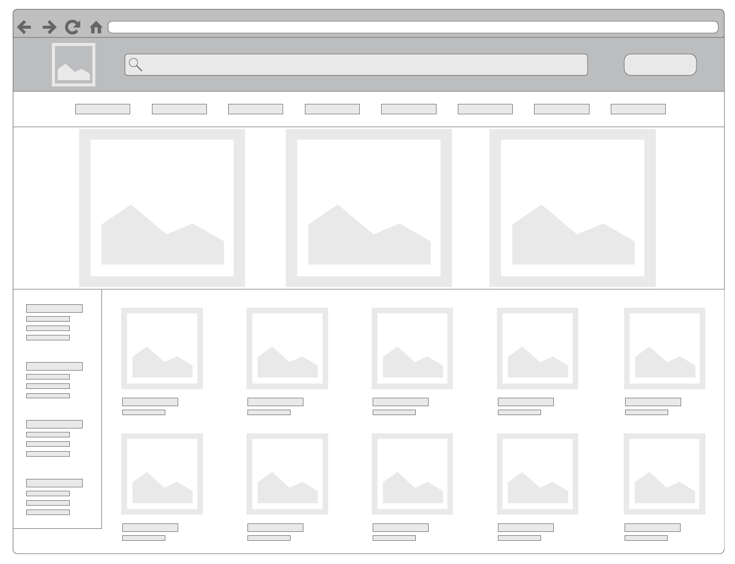 e-commerce category page basic wireframe