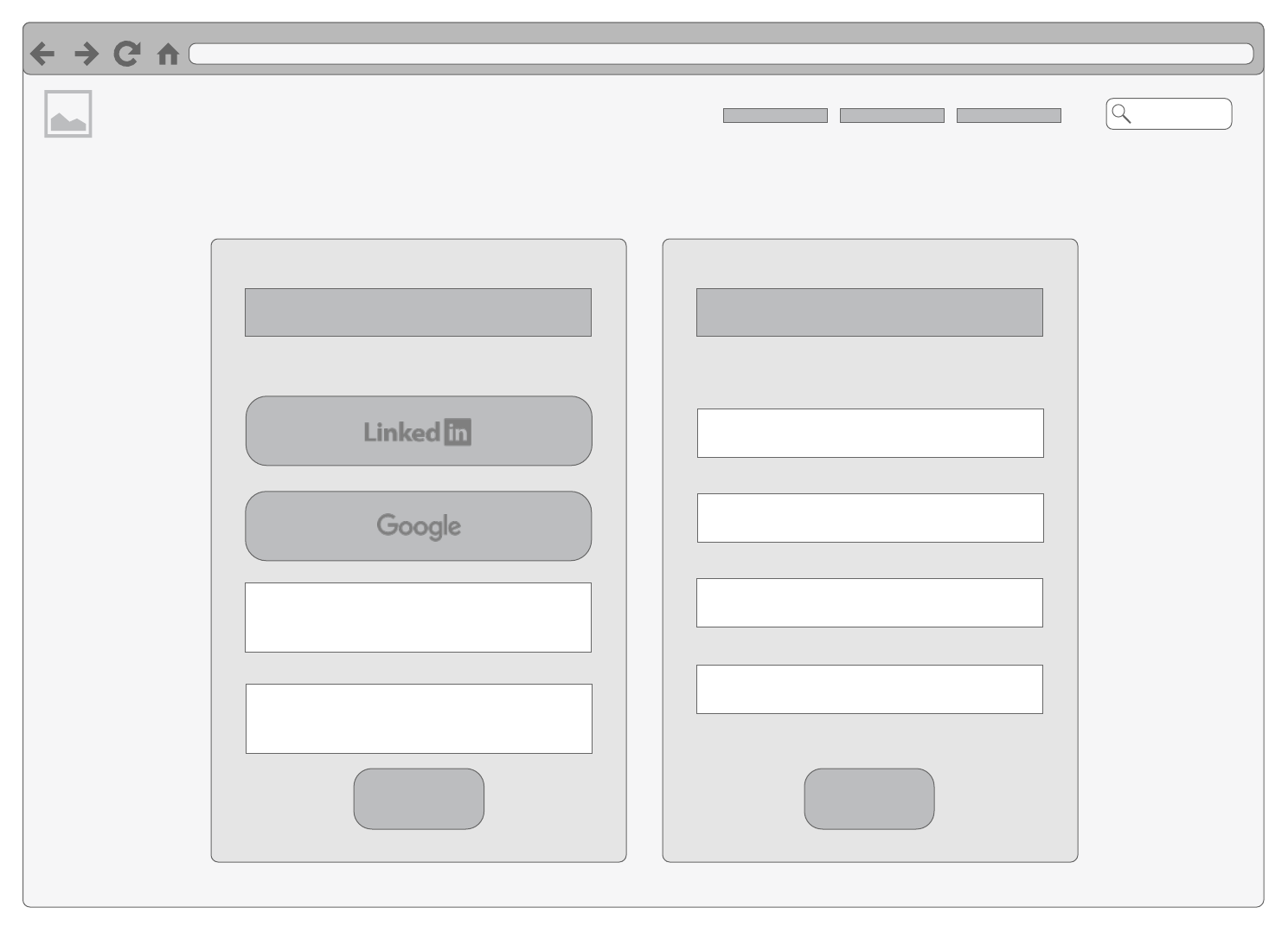 login or sign-up page basic wireframe