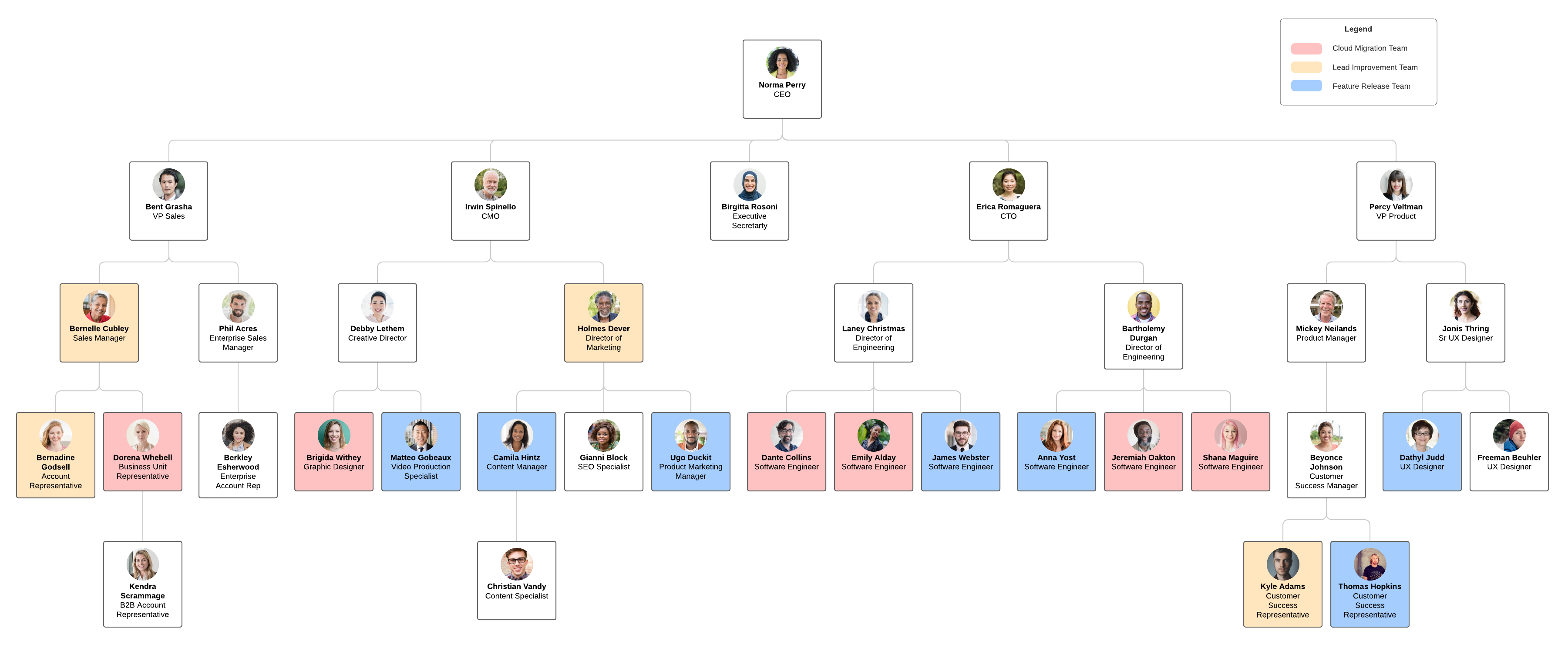 org chart by cross-functional team template