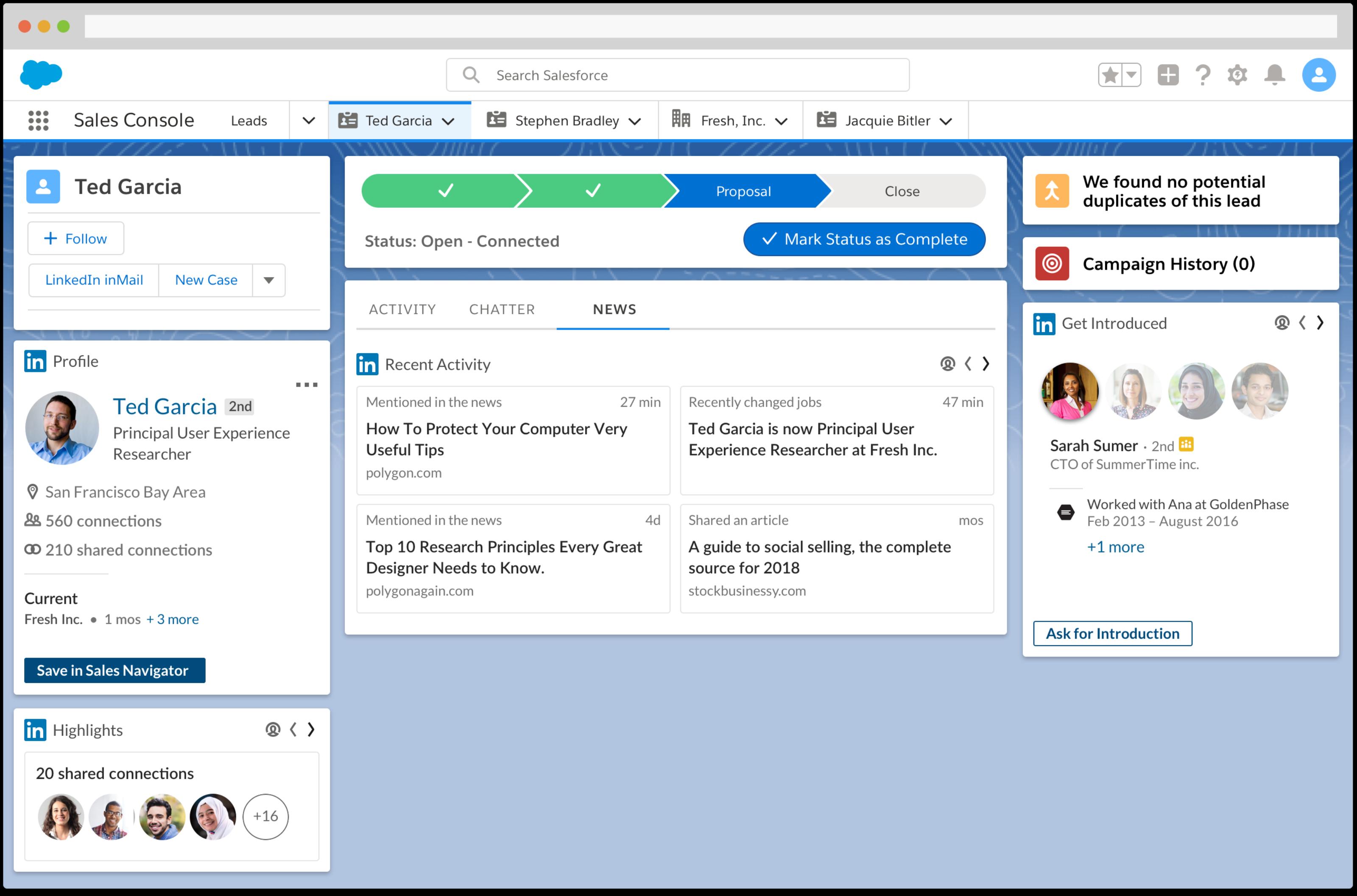 LinkedIn Sales Navigator widget in Salesforce
