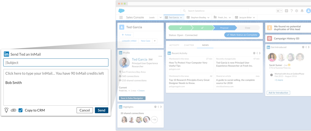 sending InMail from Salesforce