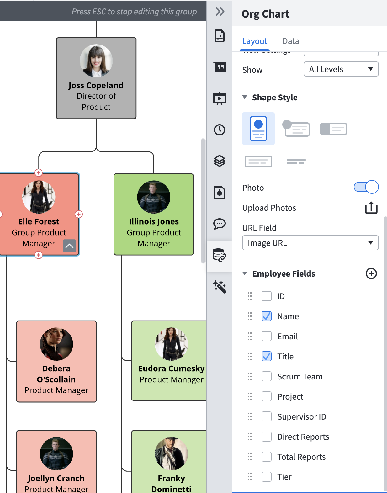 choose employee to add to org chart