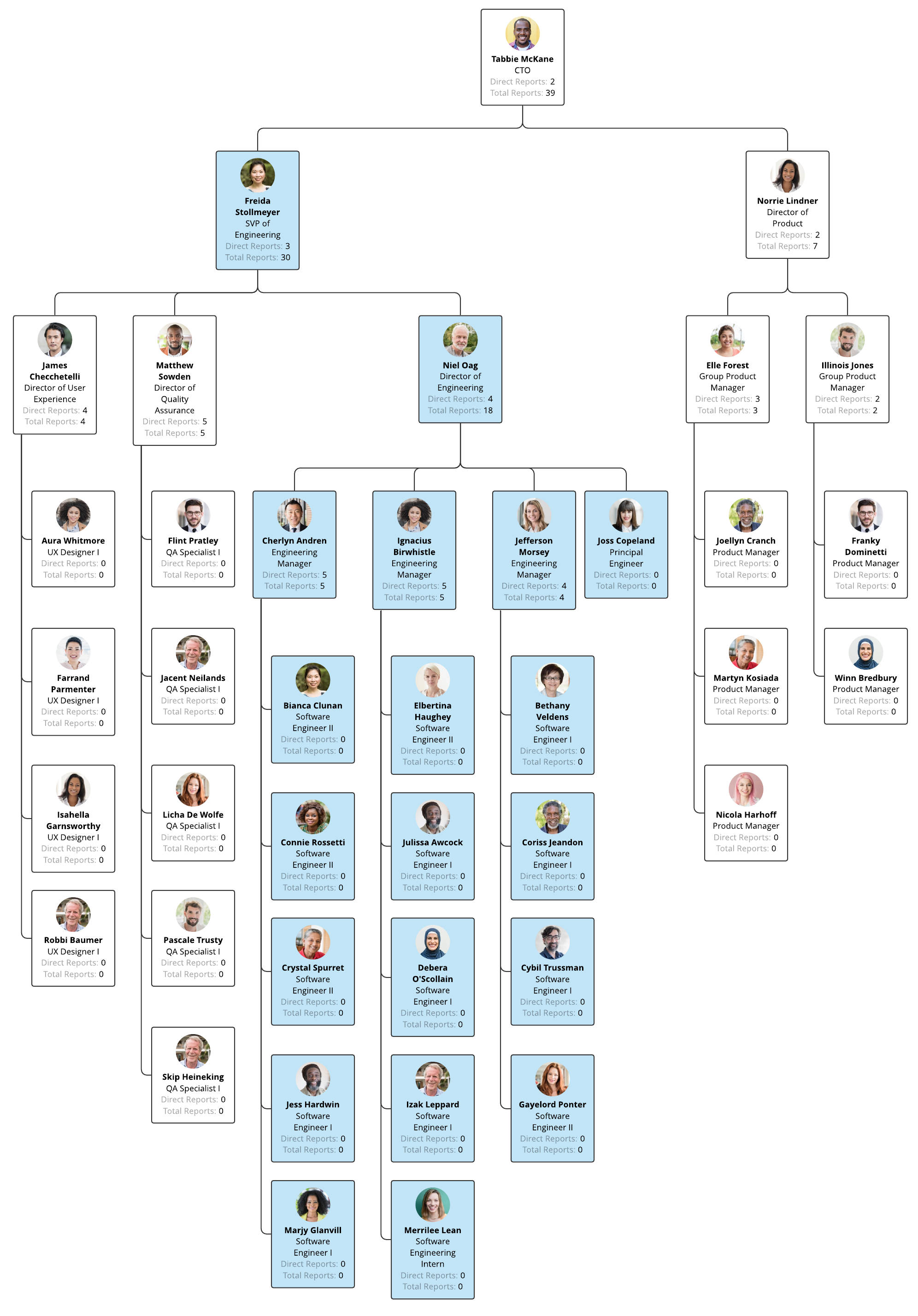 org chart view leadership and team management