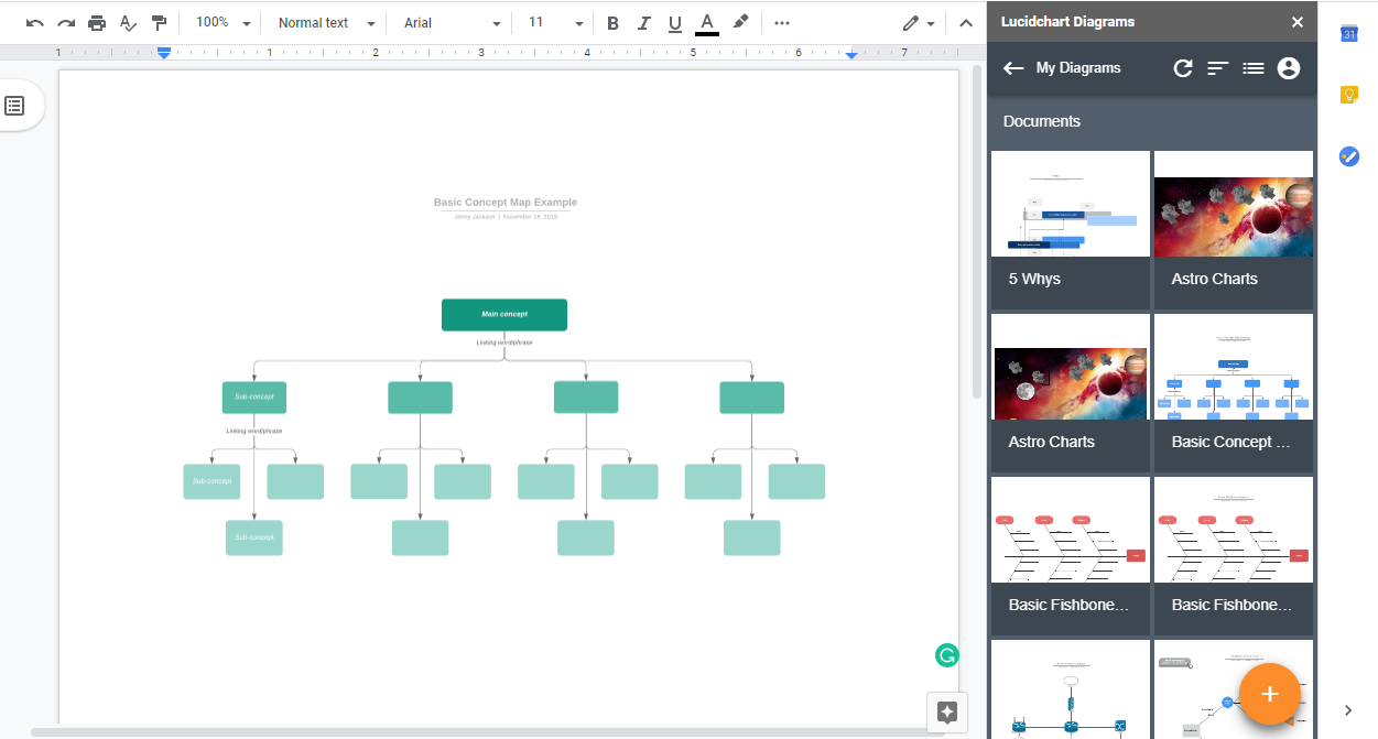 update concept map in Google Doc