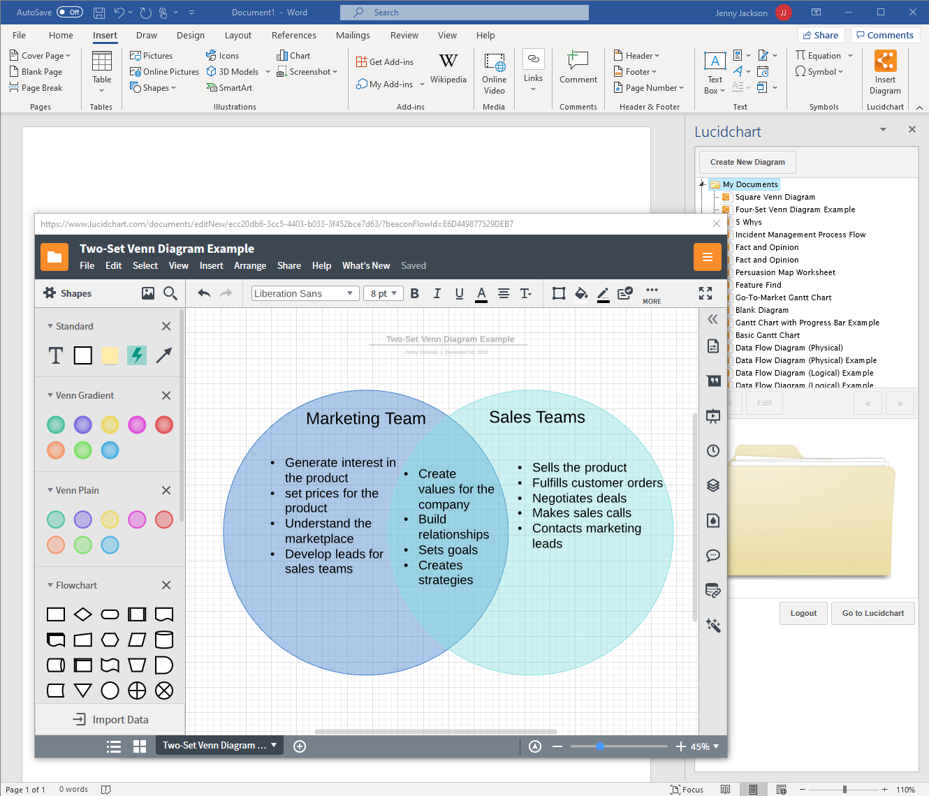 Create a Venn diagram in MS Word with Lucidchart