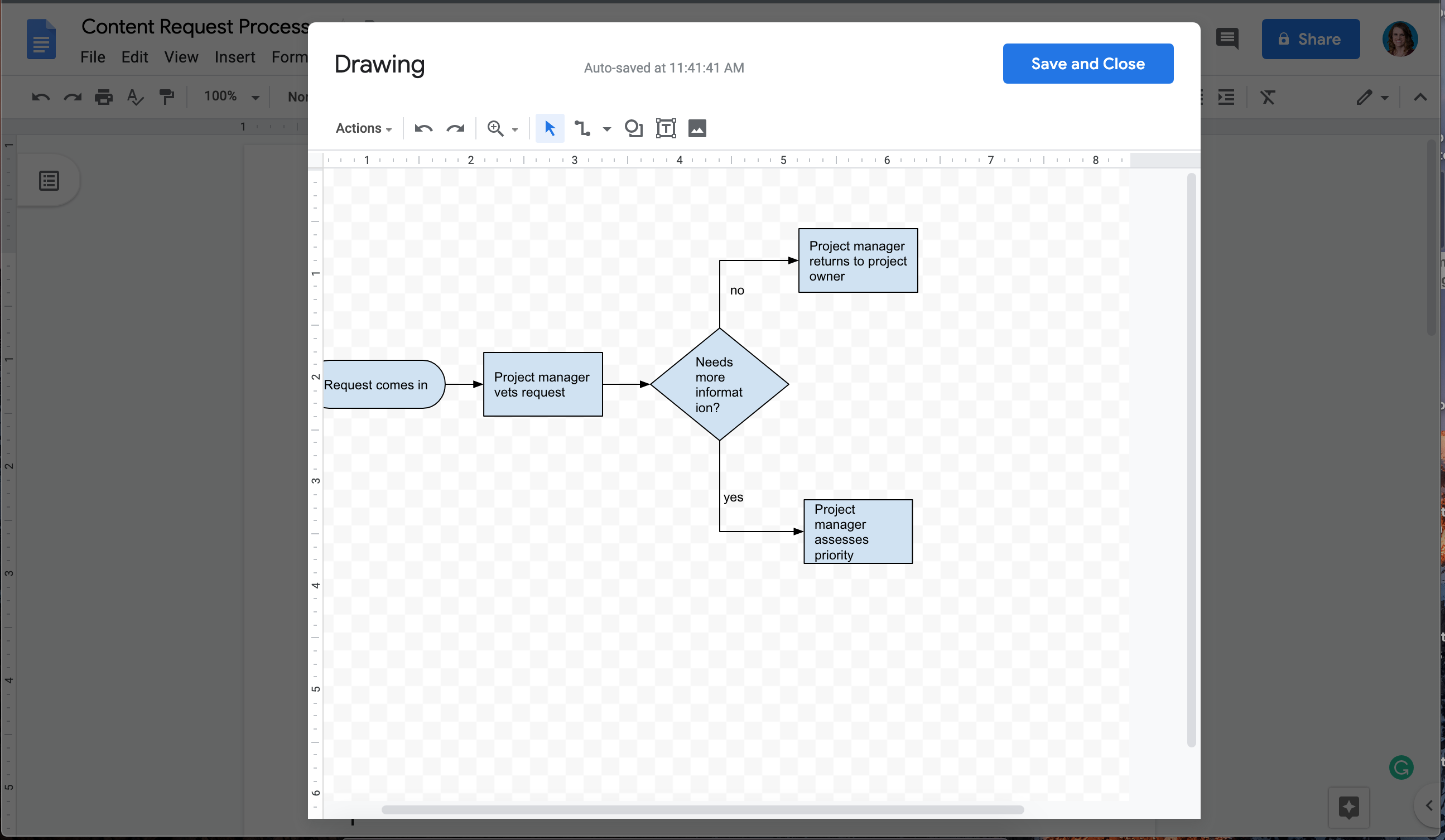creating a flowchart in Google Drawings