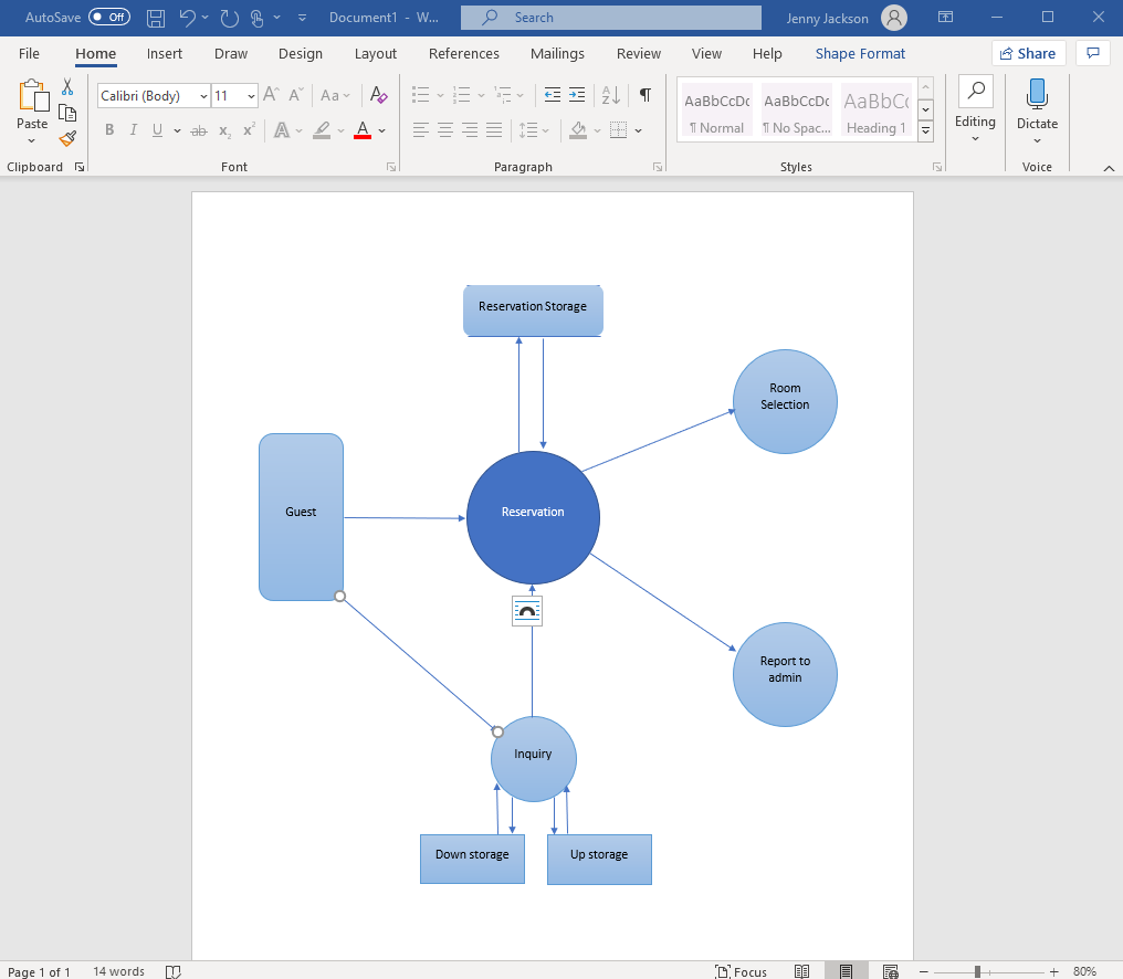 How to build a data flow diagram in Word with the shape library
