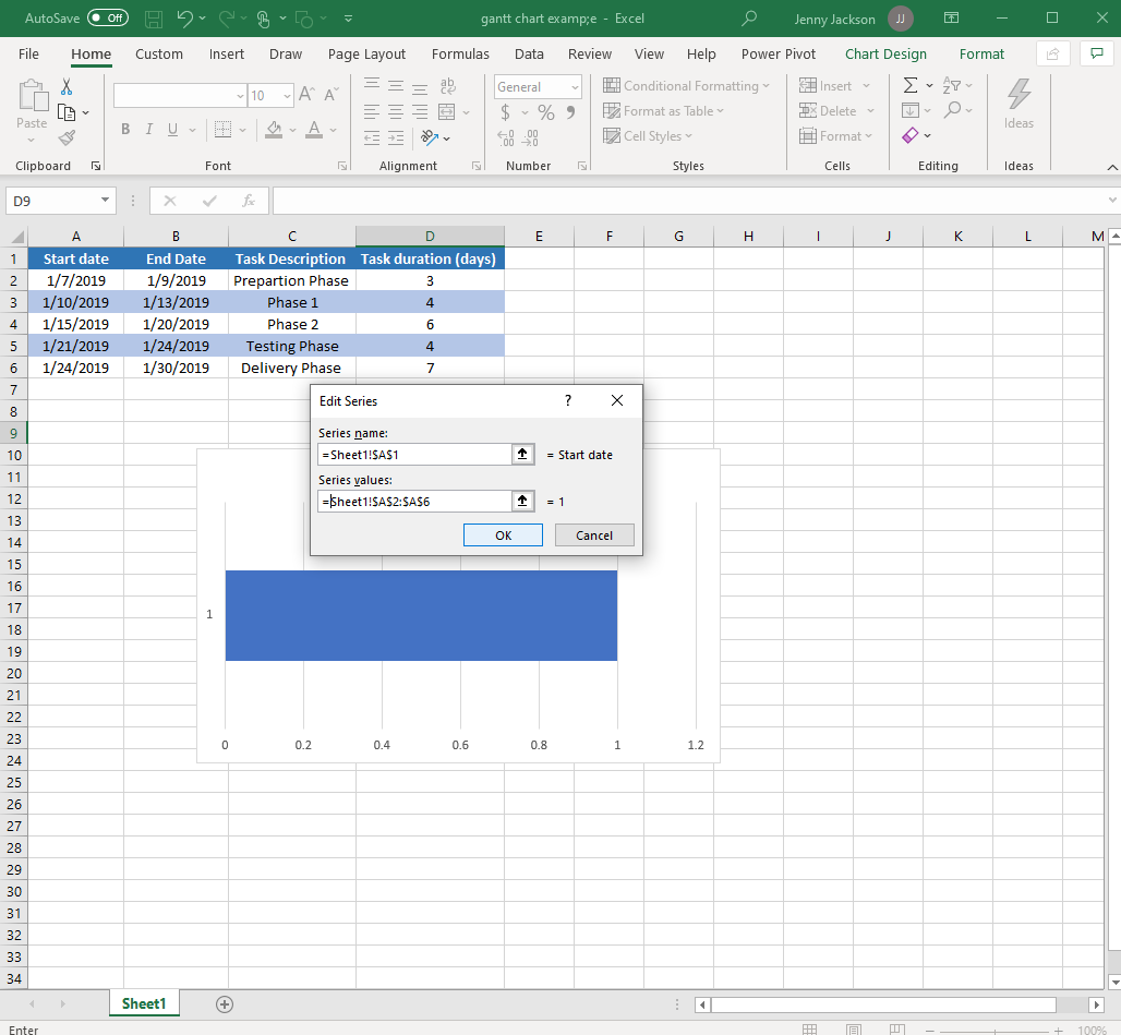 Excel Gantt chart with edit series box