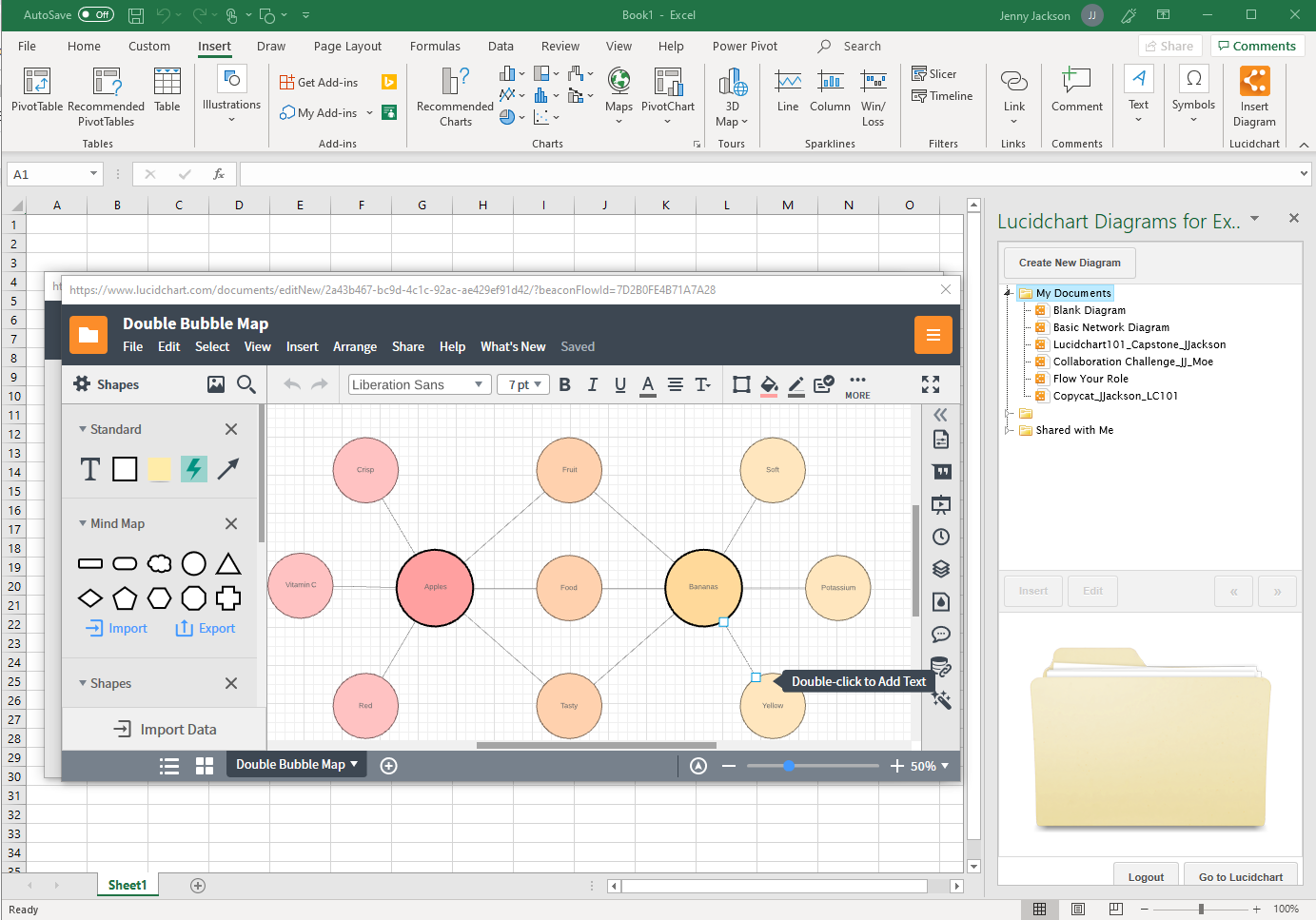 create a mind map in Excel with the Lucidchart add-in