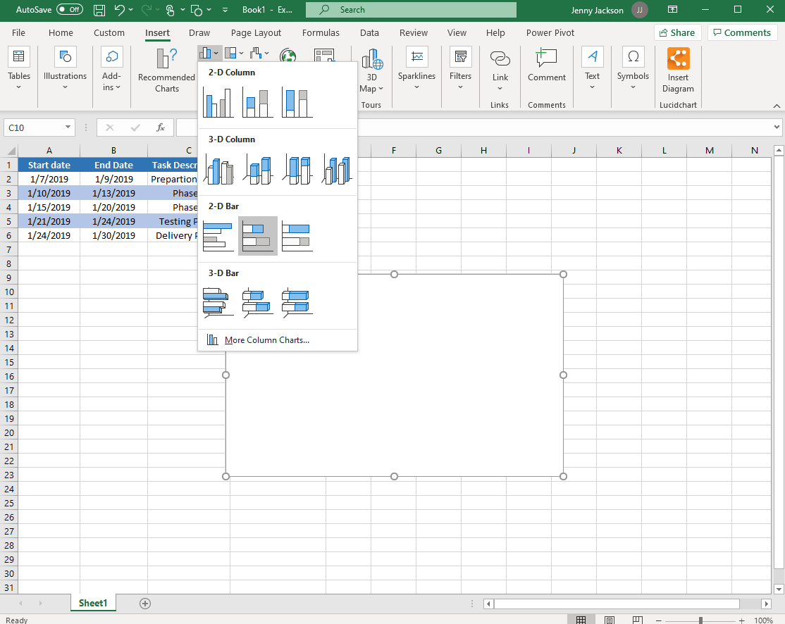 Excel Gantt chart with stacked bar graph