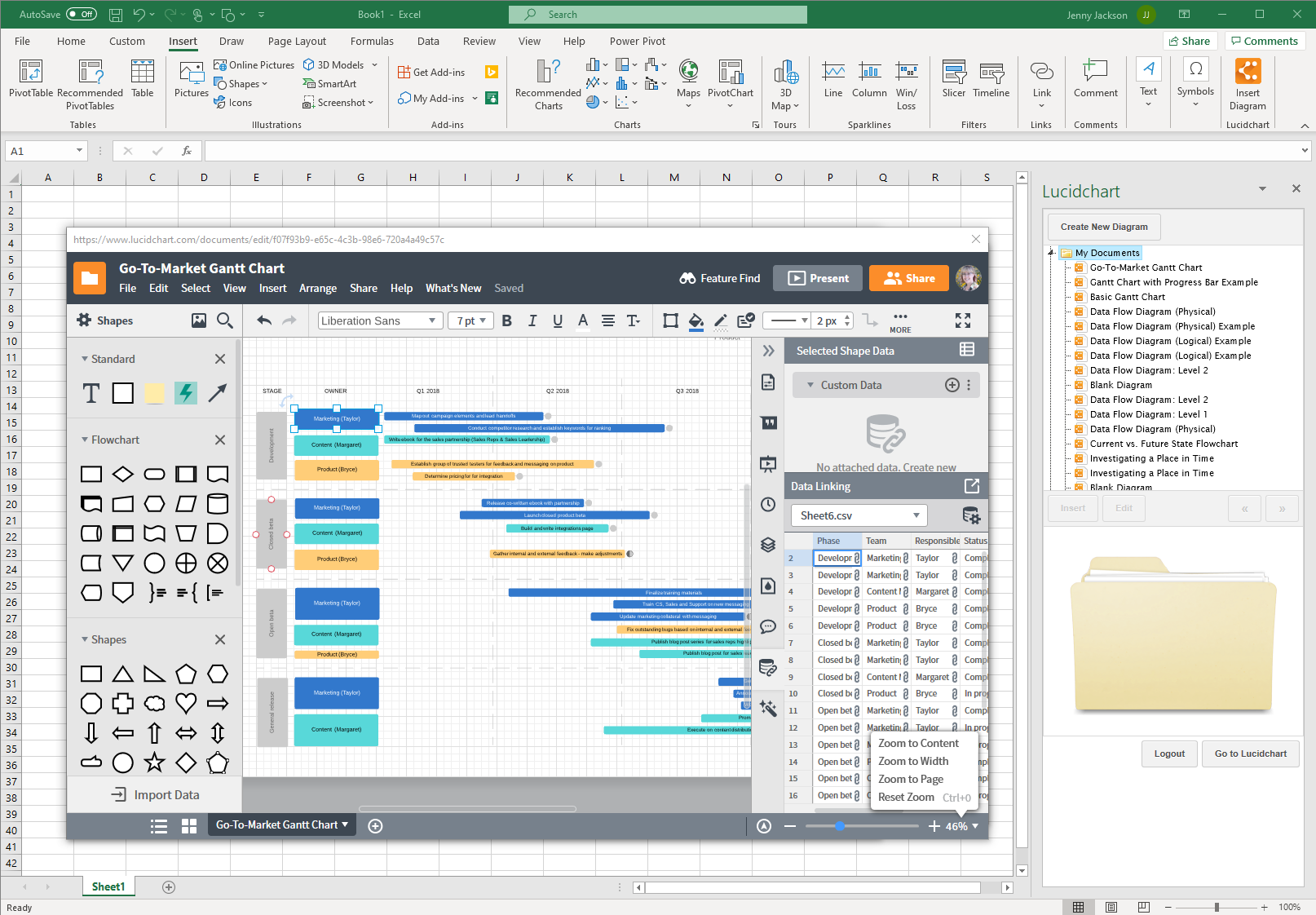 Build a gantt chart in Excel with the Lucidchart editor