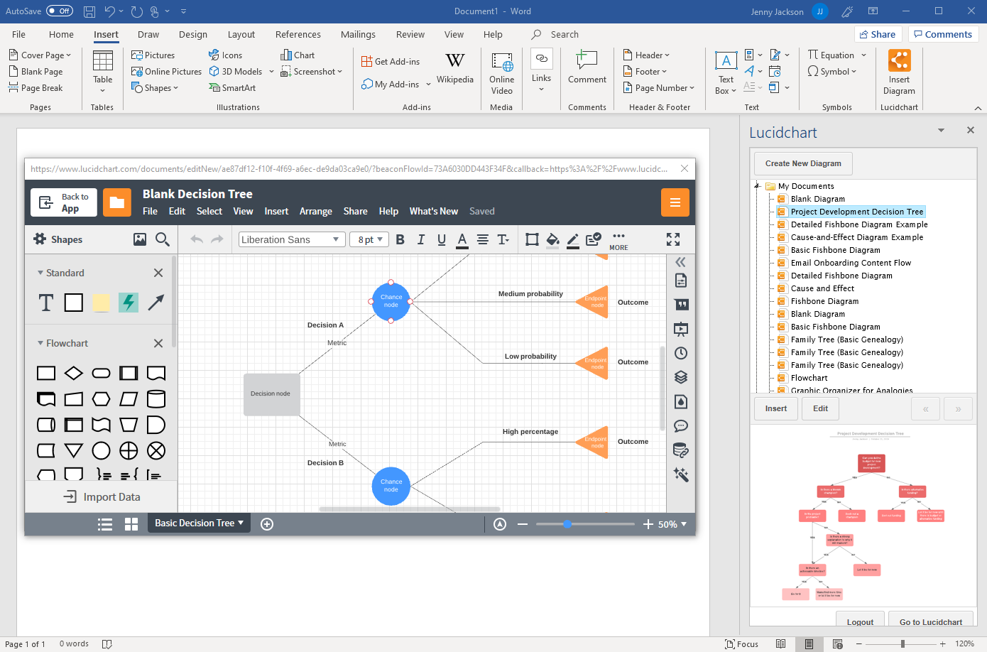 create a decision tree in Word with Lucidchart