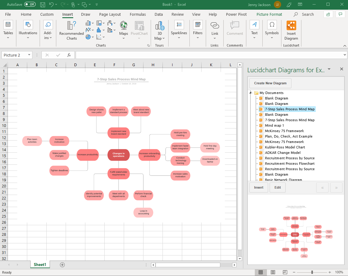 insert mind map with the Lucidchart add-in