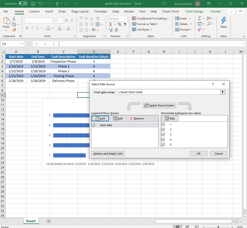 Excel Gantt chart with select data source box