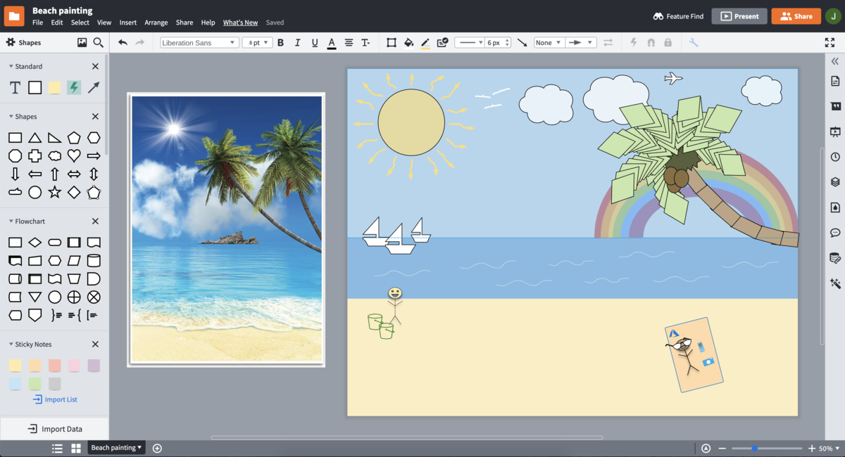 beach painting example in Lucidchart