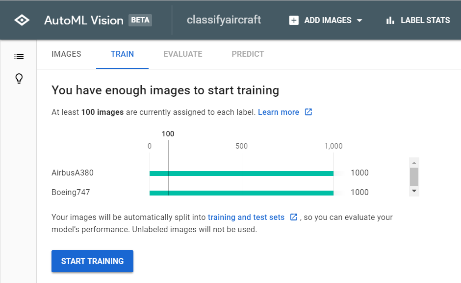 verify enough images to start training