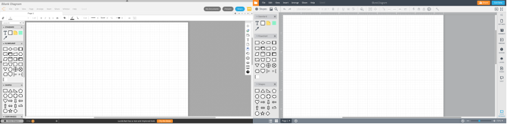 The old (left) and new (right) Lucidchart editor