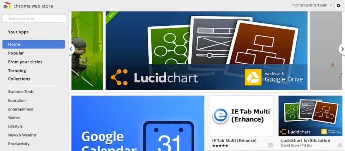 lucidchart featured in Chrome Web Store