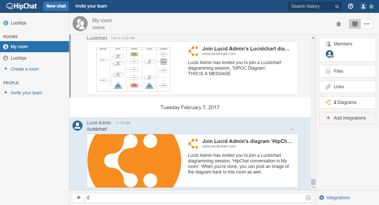 Using Lucidchart on HipChat