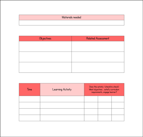 visual lesson plan