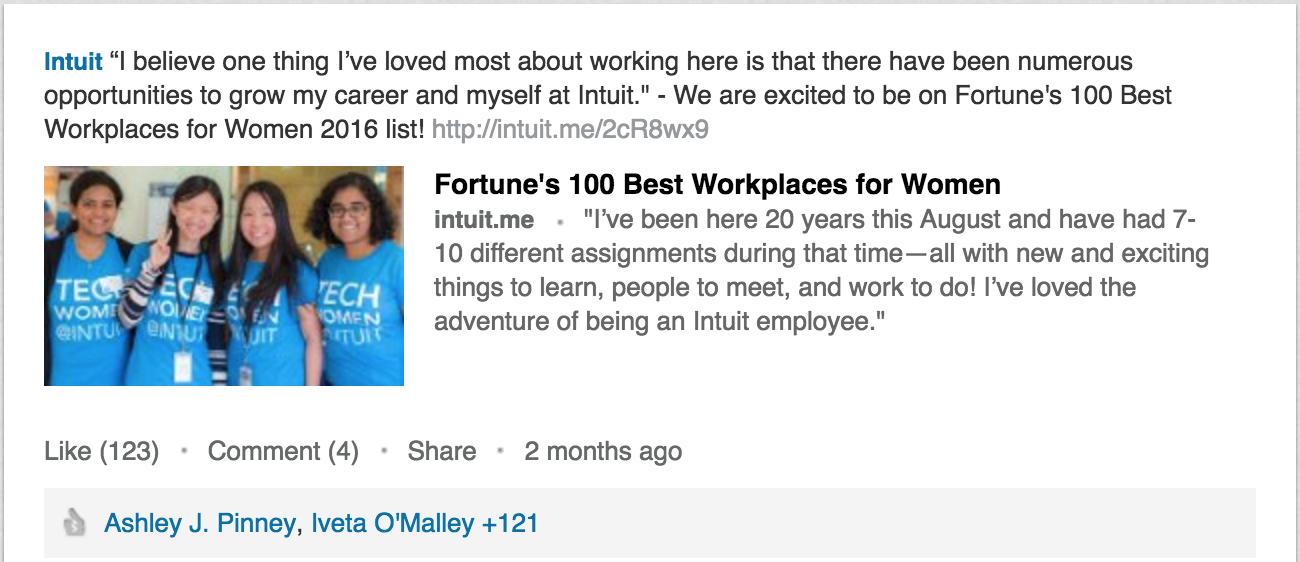 B2B social media highlights, Intuit on LinkedIn