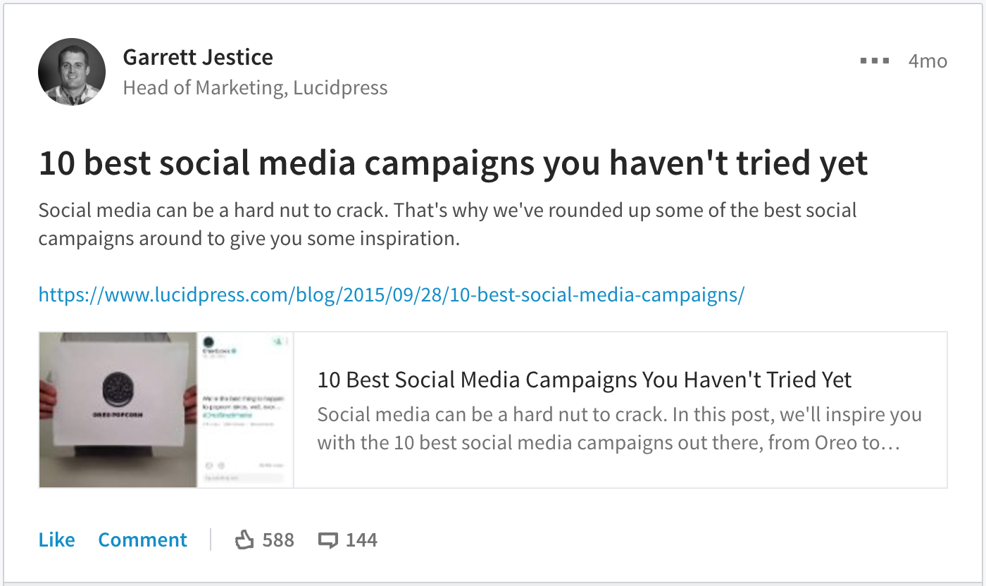 B2B social media success, Lucidpress on LinkedIn
