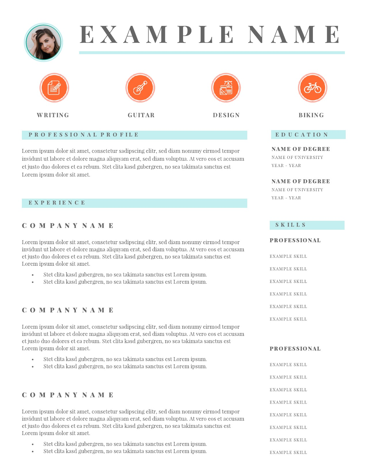Airy icons infographic resume | Lucidpress
