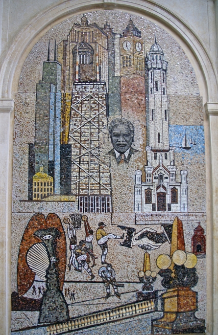 Founder's mosaic at DuSable Museum by Thomas Miller